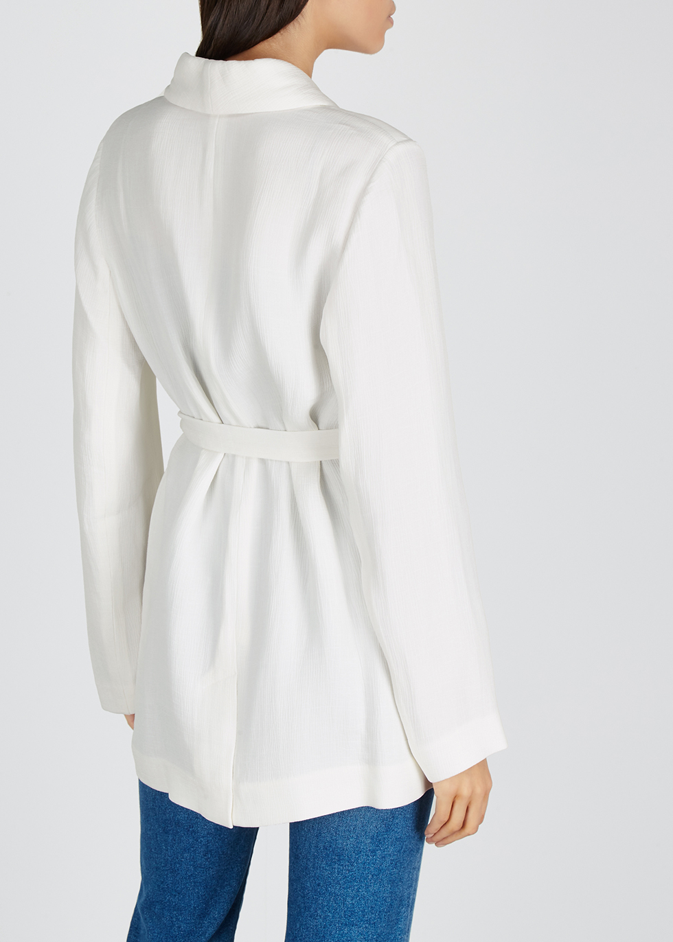 Off-white textured rayon-blend jacket - EILEEN FISHER