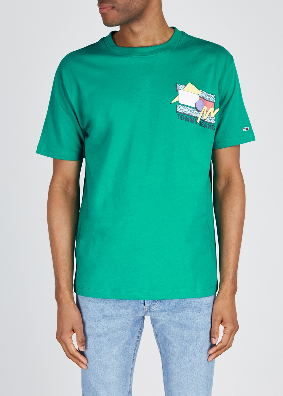 Teal printed cotton T-shirt - Tommy Jeans