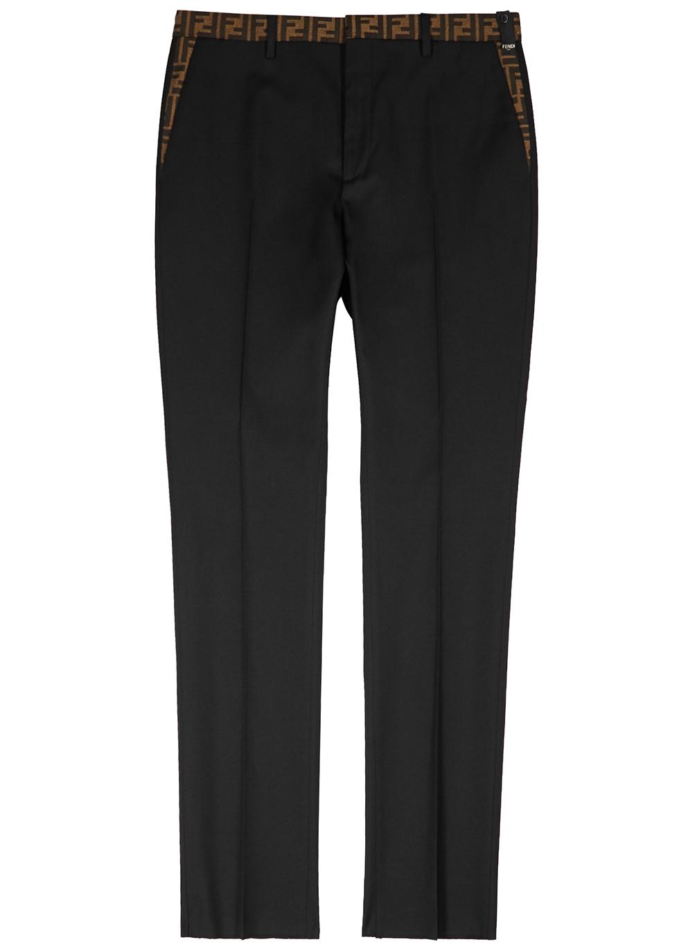 Black logo-jacquard twill trousers - Fendi