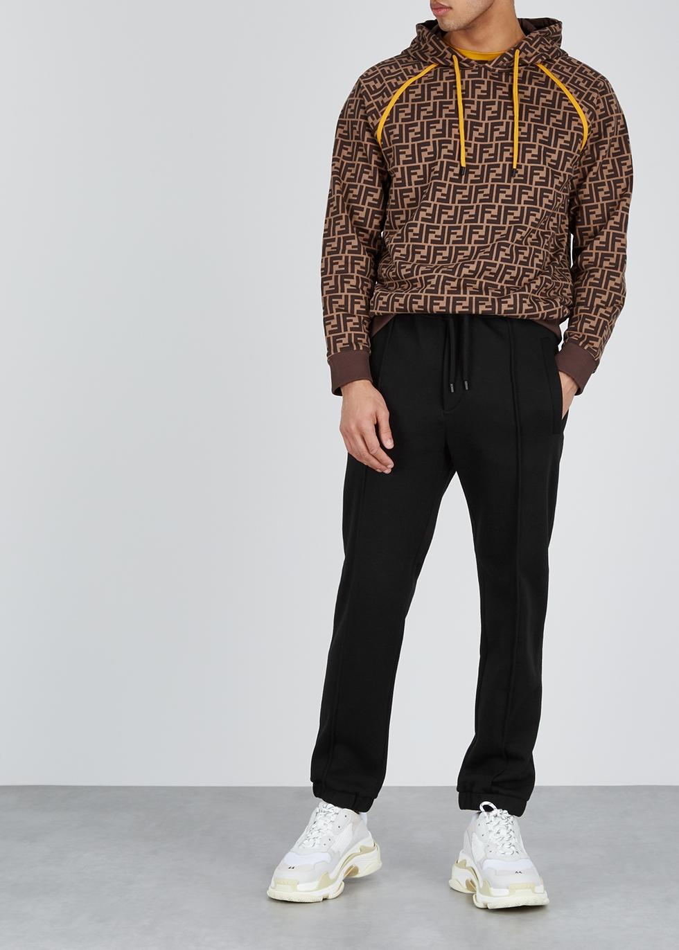 Black cotton-blend sweatpants - Fendi