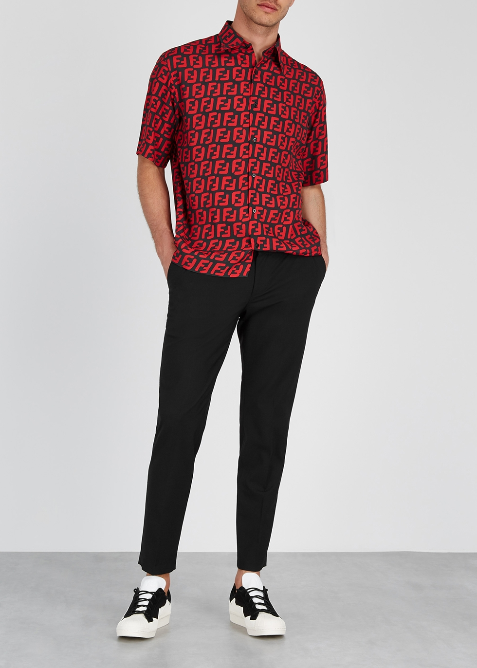 Black and red logo-print shirt - Fendi