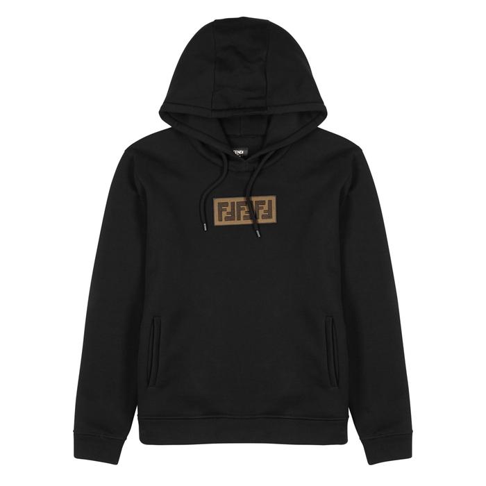 Fendi Black Appliquéd Cotton Sweatshirt