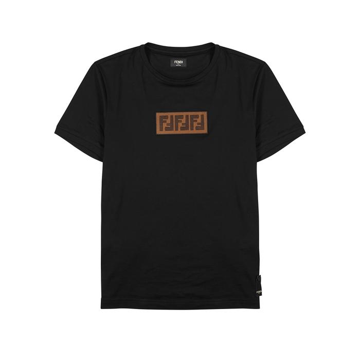 Fendi Black Appliquéd Cotton T-shirt