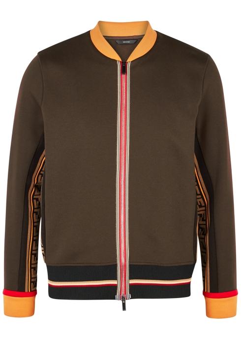 a63bd7bd7c5e Fendi Brown cotton-blend bomber jacket - Harvey Nichols