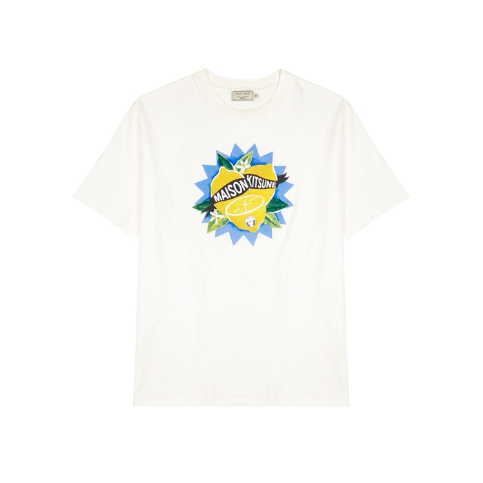 Maison Kitsuné T-shirts OFF-WHITE PRINTED COTTON T-SHIRT