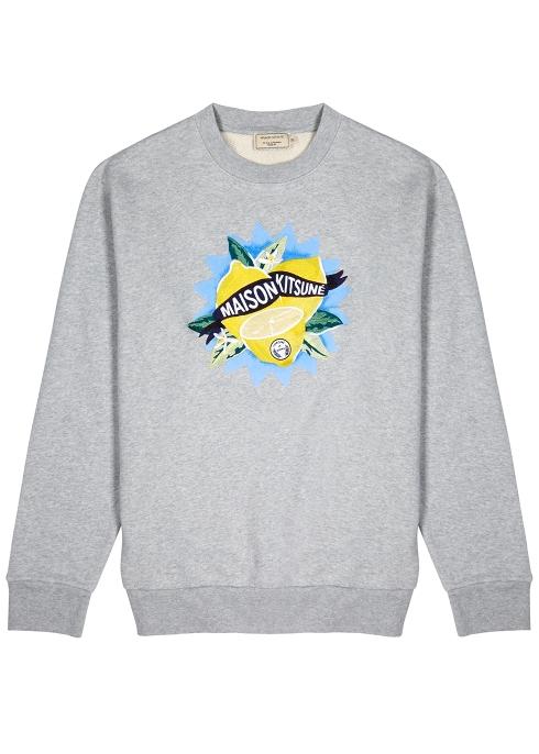 bf2508e55 Maison Kitsuné Grey embroidered cotton sweatshirt - Harvey Nichols