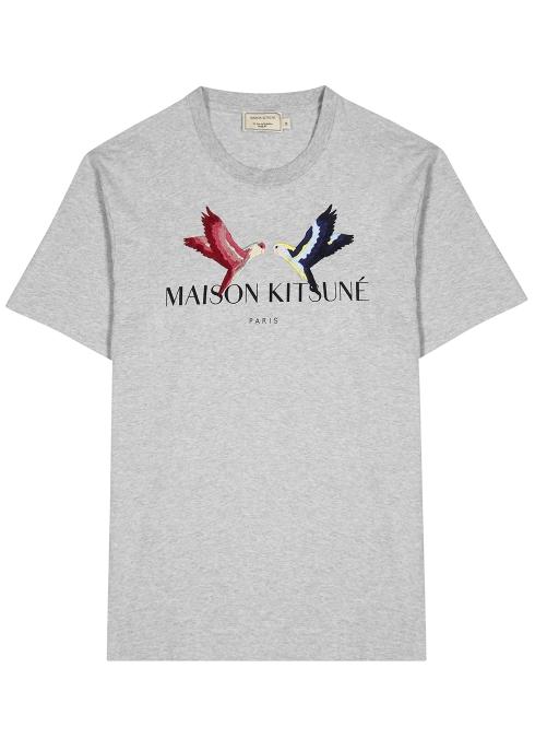da2282b6 Maison Kitsuné Grey embroidered cotton T-shirt - Harvey Nichols