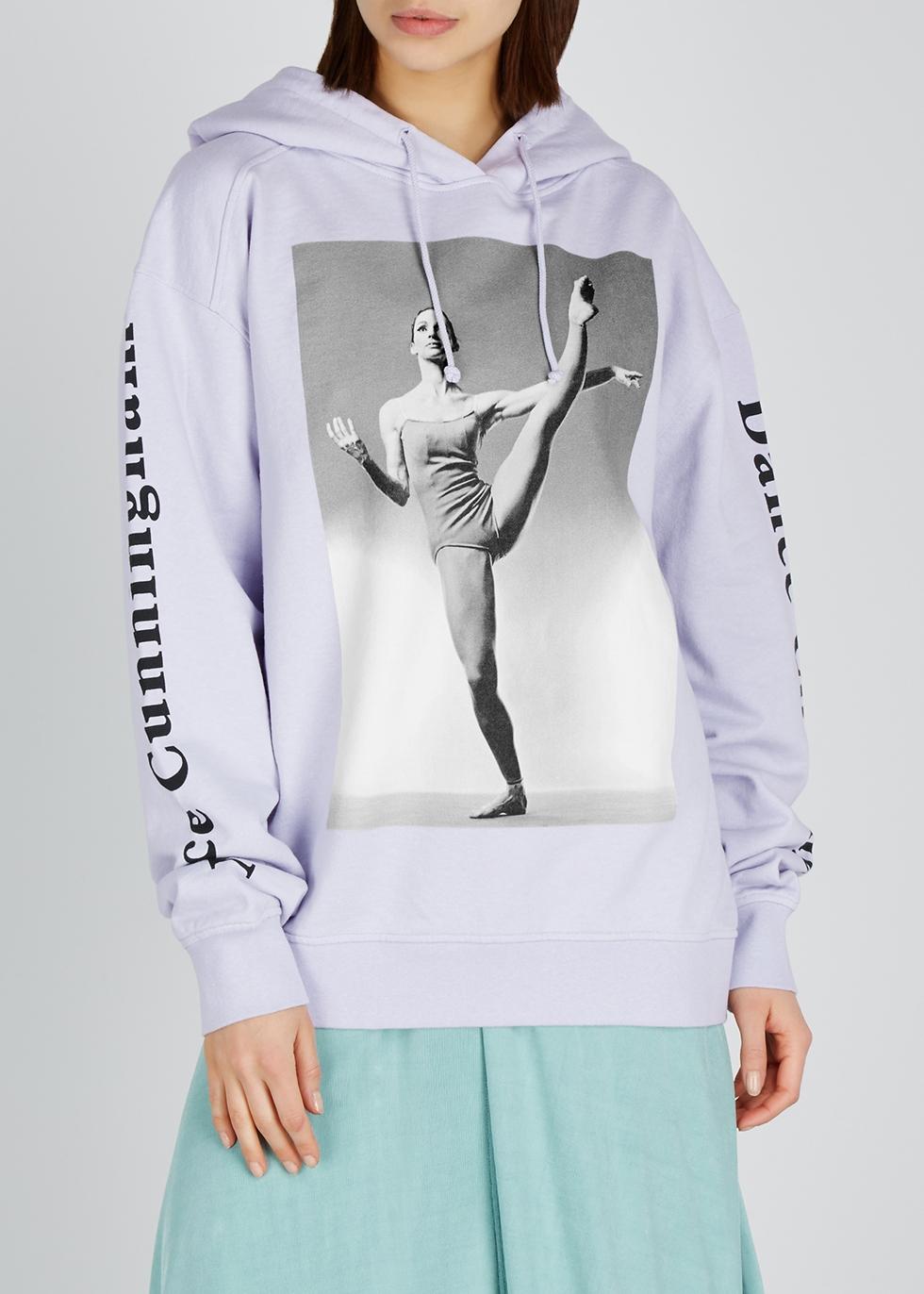 Lilac printed cotton-jersey sweatshirt - Acne Studios