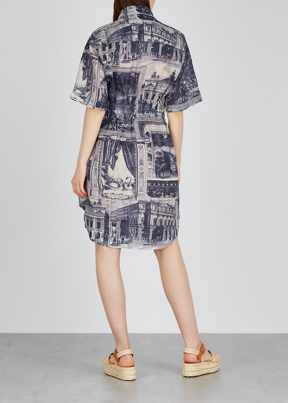 Blue printed linen midi shirt dress - Acne Studios