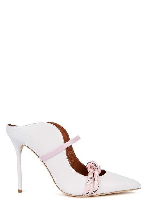 a53c56d5f99a Malone Souliers Farrah 100 white leather mules - Harvey Nichols