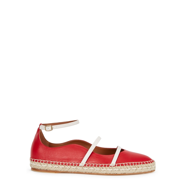 Malone Souliers Shoes SELINA RED LEATHER ESPADRILLES