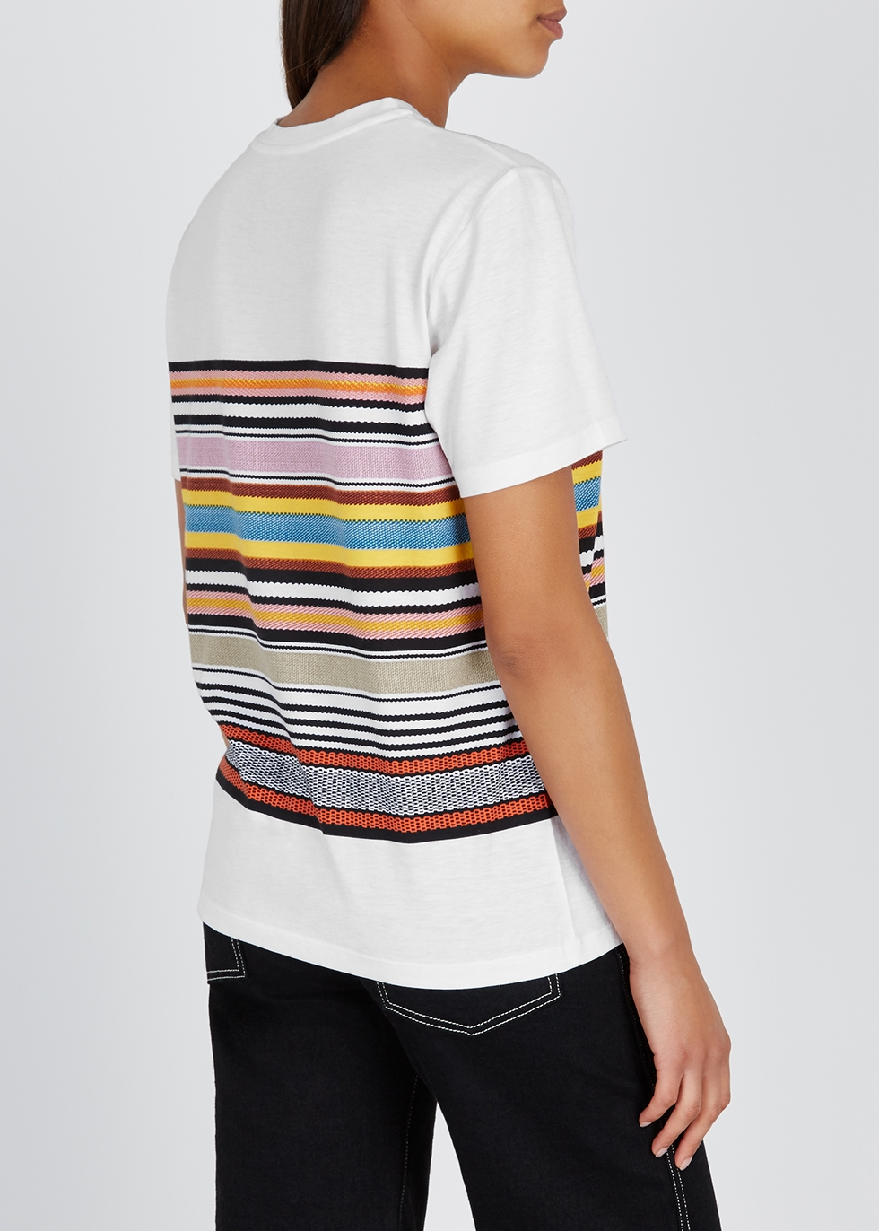 White striped cotton T-shirt - Tory Burch