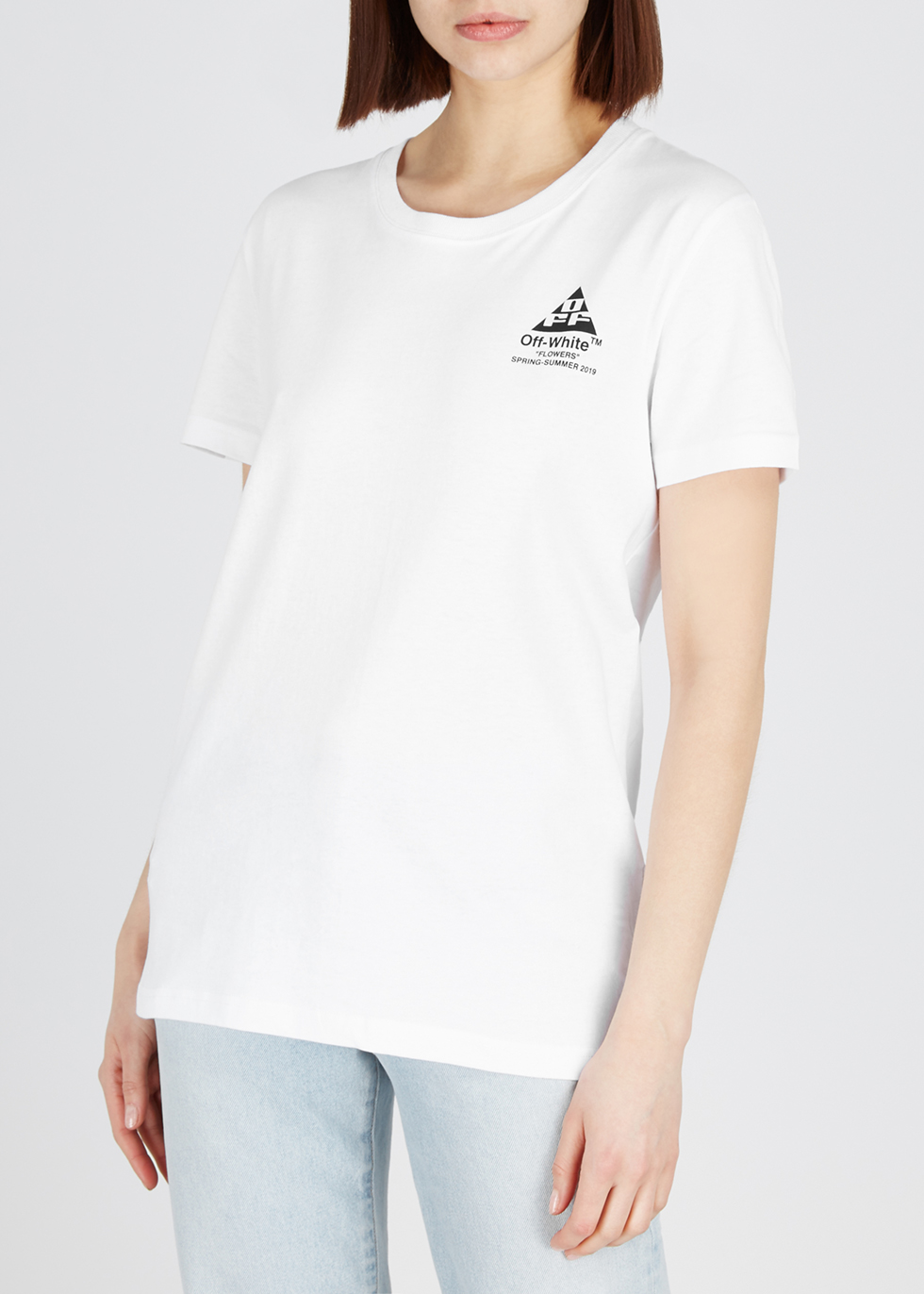 White embellished cotton T-shirt - Off-White