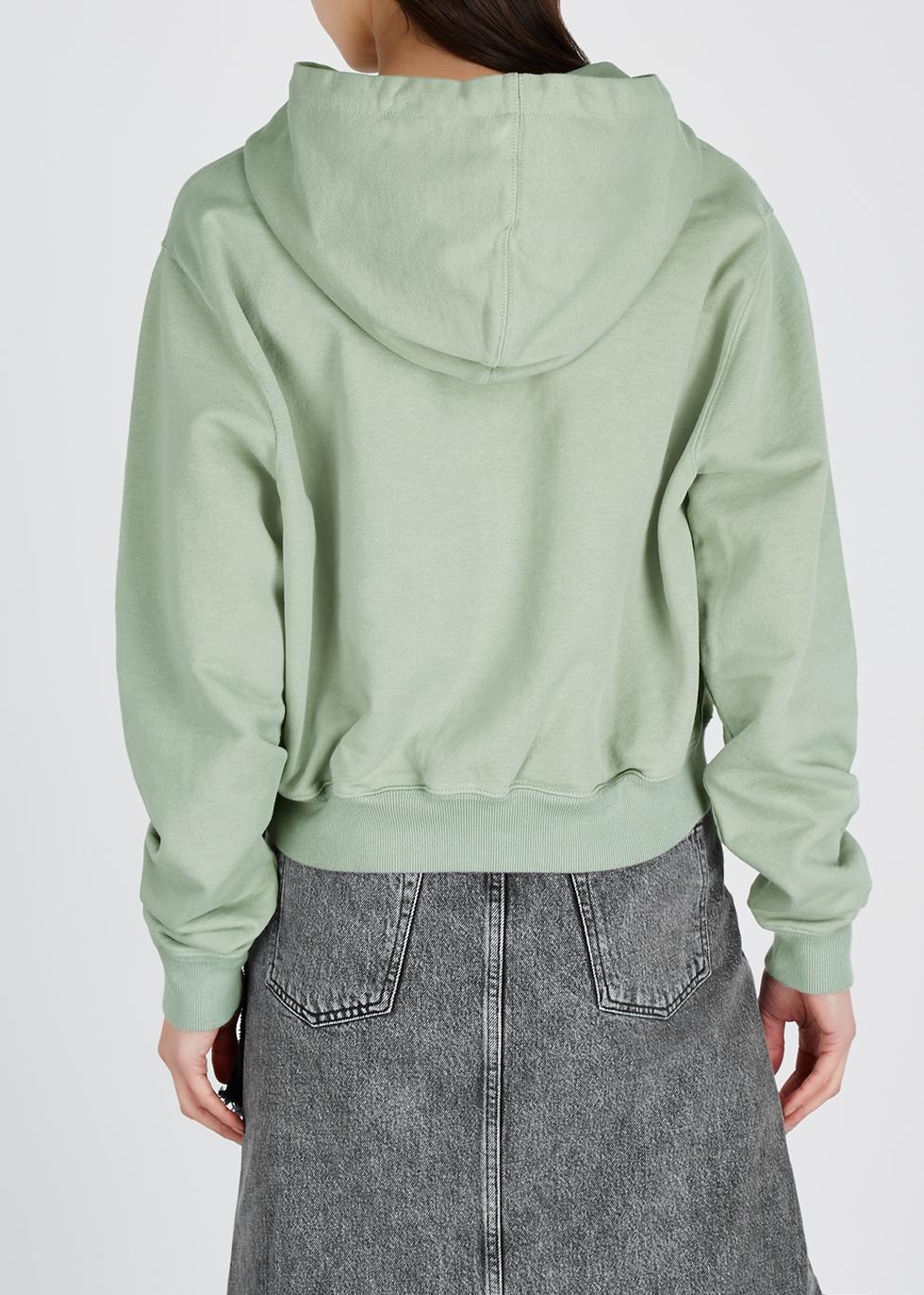 Sage logo-print hooded cotton sweatshirt - Off-White