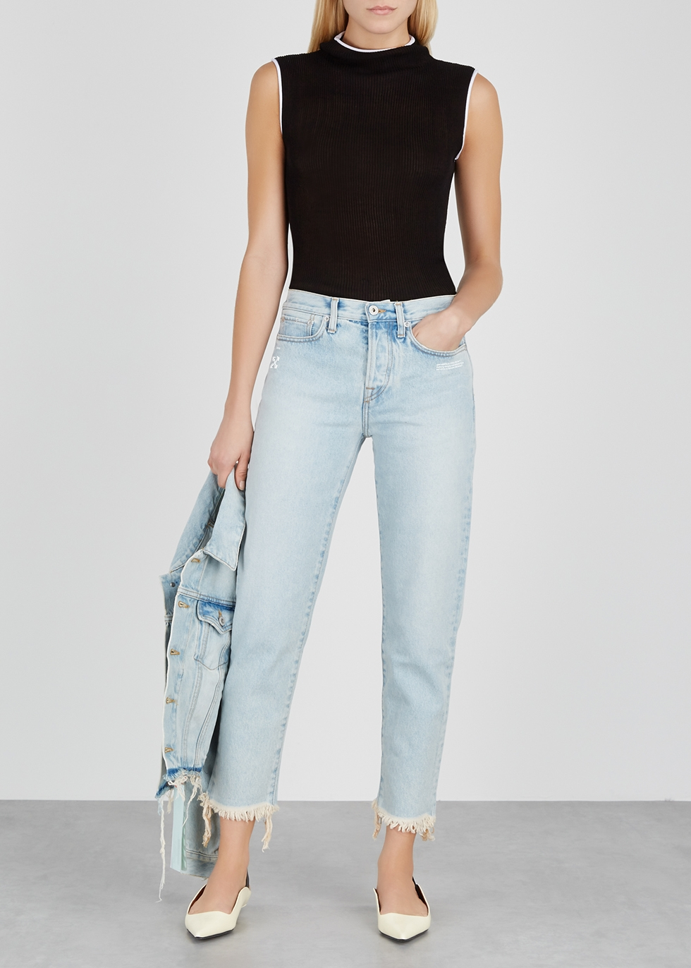 Light blue cropped slim-leg jeans - Off-White