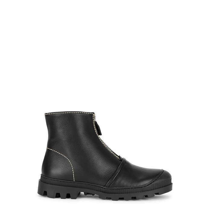 LOEWE Black leather ankle boots