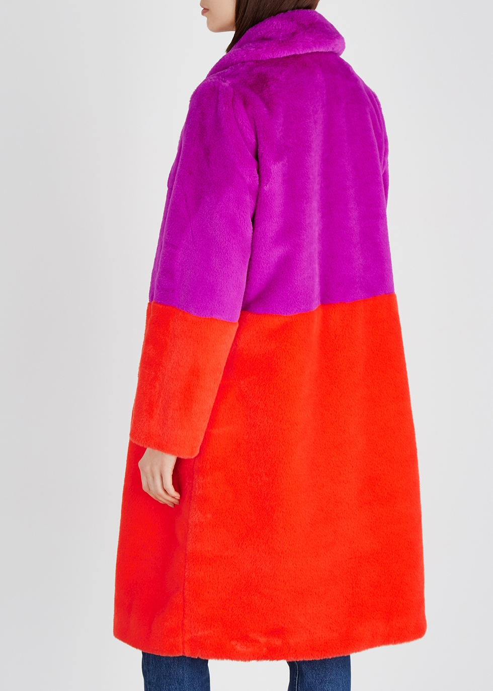 Maribel colour-block faux fur coat - Stand