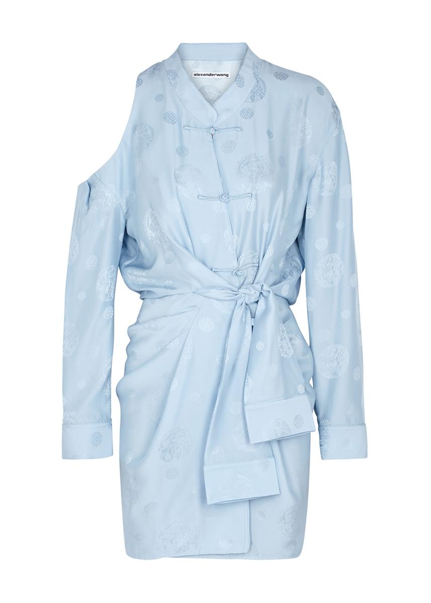 8fa36f1abd2 Light blue silk jacquard mini dress Light blue silk jacquard mini dress. Alexander  Wang