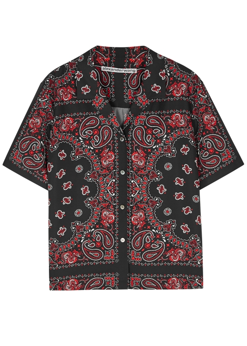 e8b7496d1a3c7 Alexander Wang Dark red printed silk shirt - Harvey Nichols