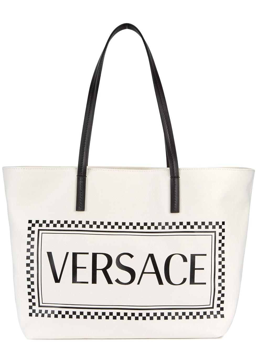 White logo-print canvas tote - Versace