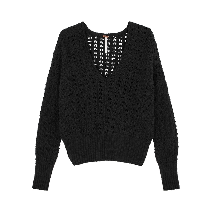 Free People Best Of You Black Open-knit Jumper  10e846e75