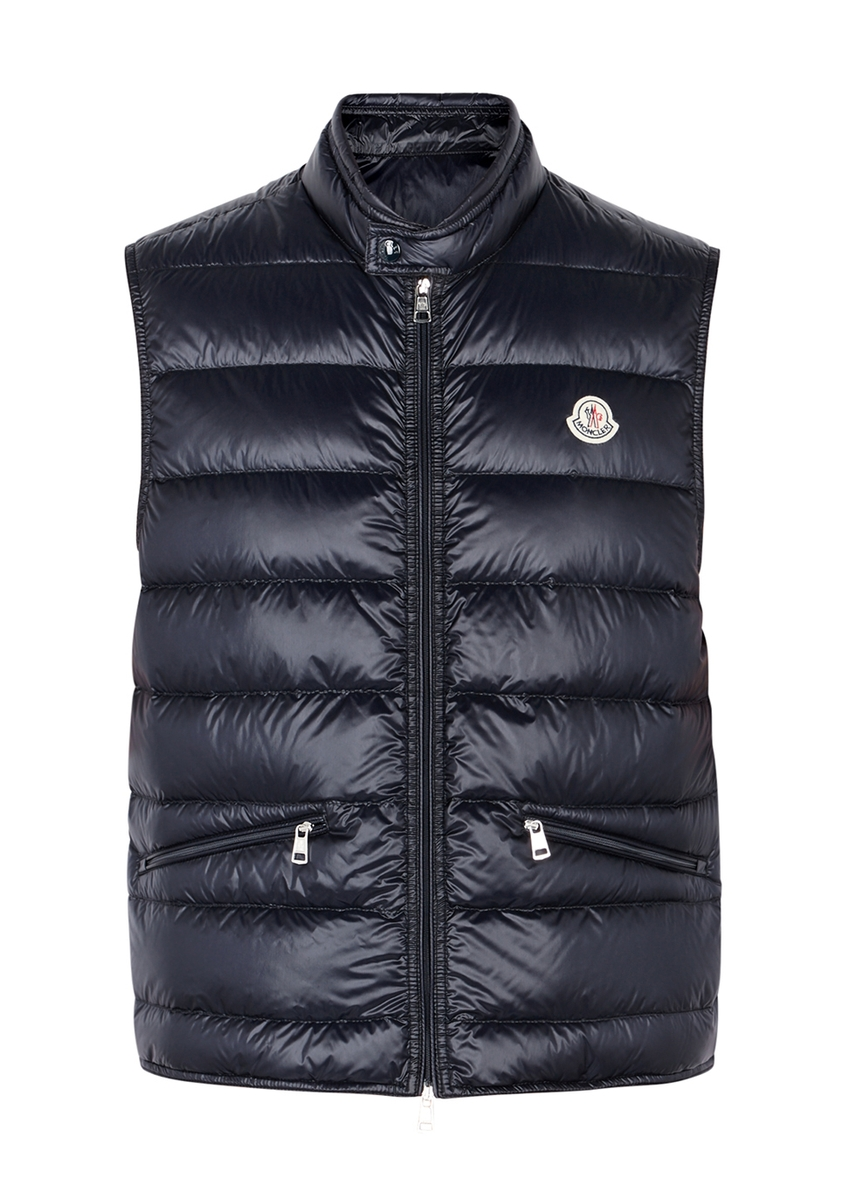 fd0279020b6d Moncler. Acorus black quilted shell jacket. £565.00 · Gui navy quilted  shell gilet ...