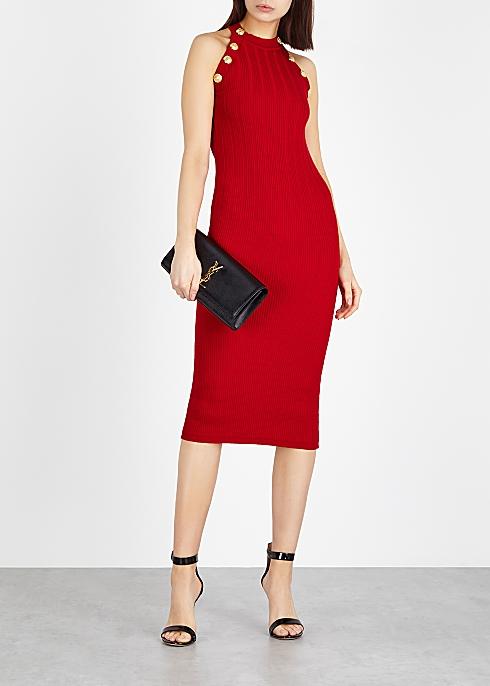 57433c3e Balmain Red stretch-knit midi dress - Harvey Nichols