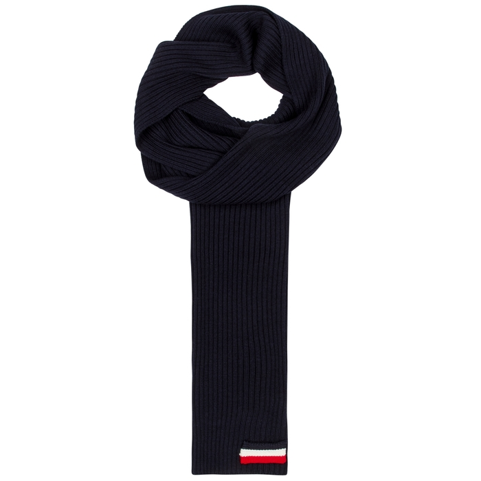 Moncler Navy Ribbed-knit Wool Scarf
