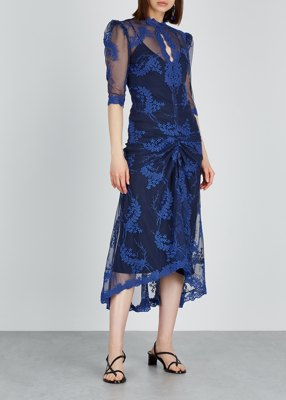 Honeymoon floral-embroidered midi dress - alice McCALL