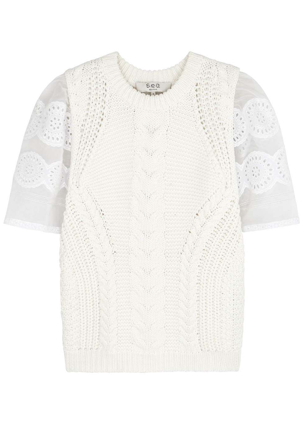 Zinnia cable-knit cotton-blend jumper - Sea NY