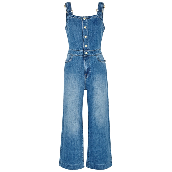 Frame Suits CLAIRE BLUE STRETCH-DENIM JUMPSUIT