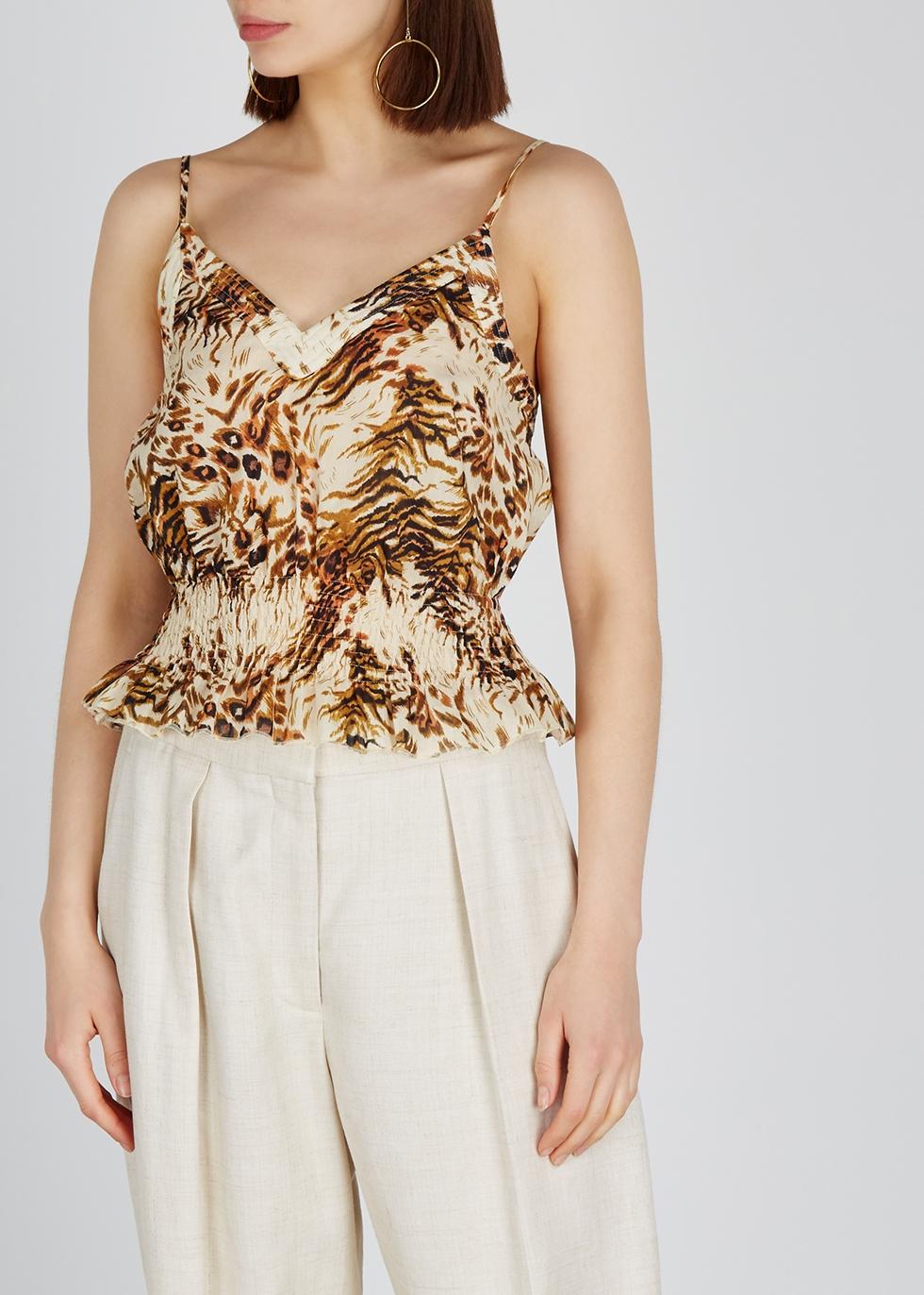 Seon animal-print cotton top - Nanushka