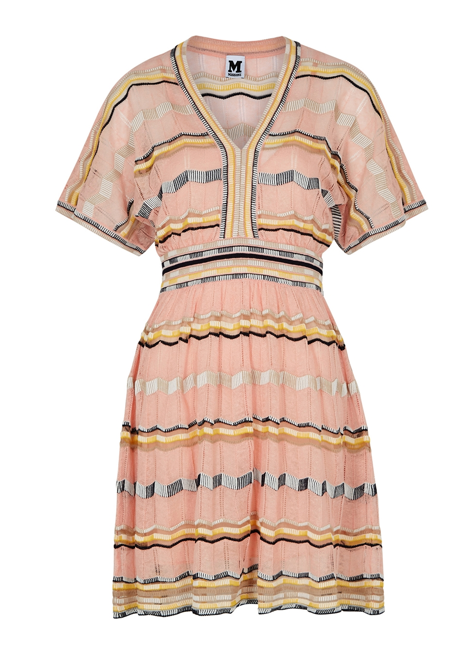 Light pink stretch-knit cotton-blend dress - M Missoni