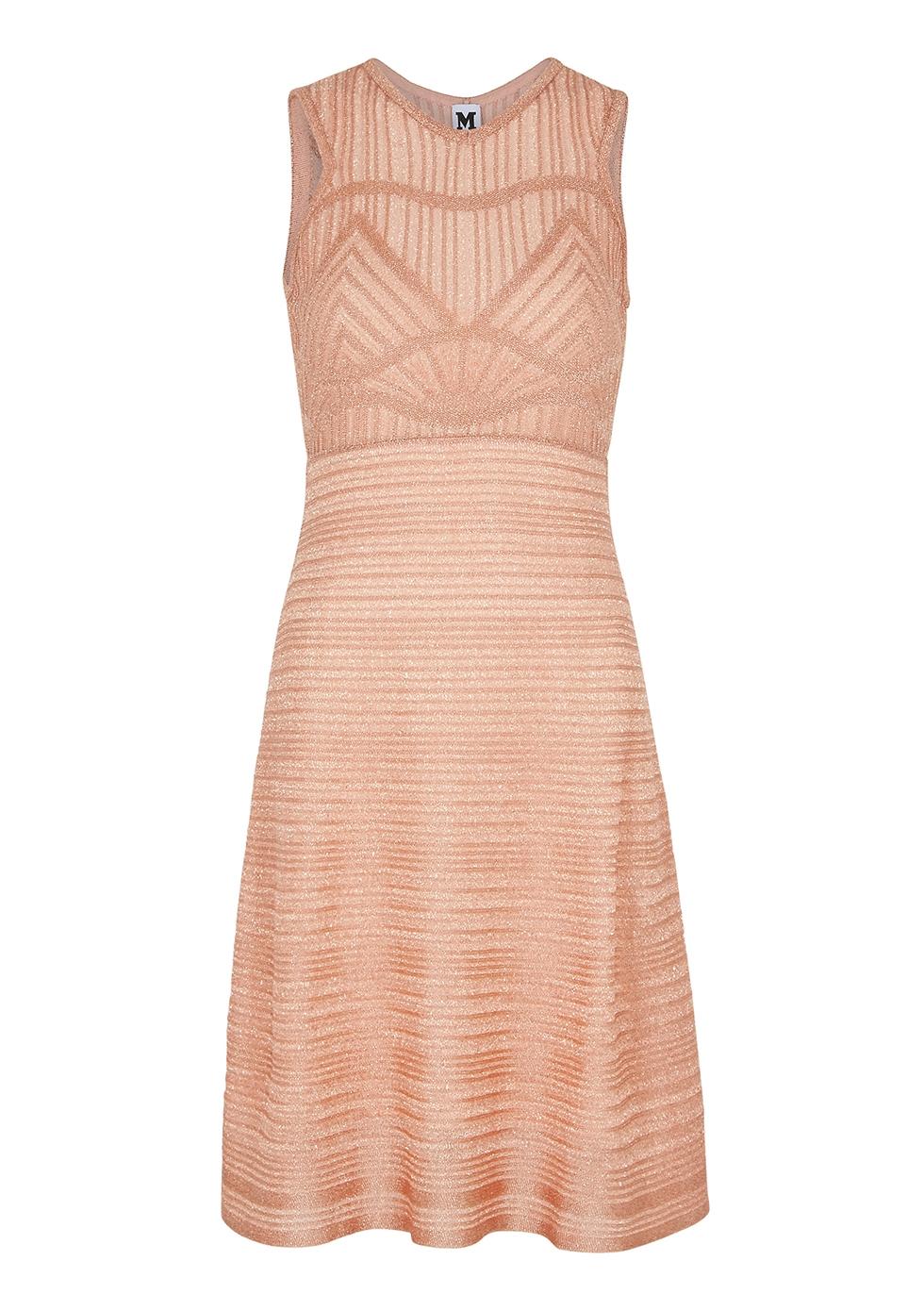 Light pink metallic-knit lamé dress - M Missoni