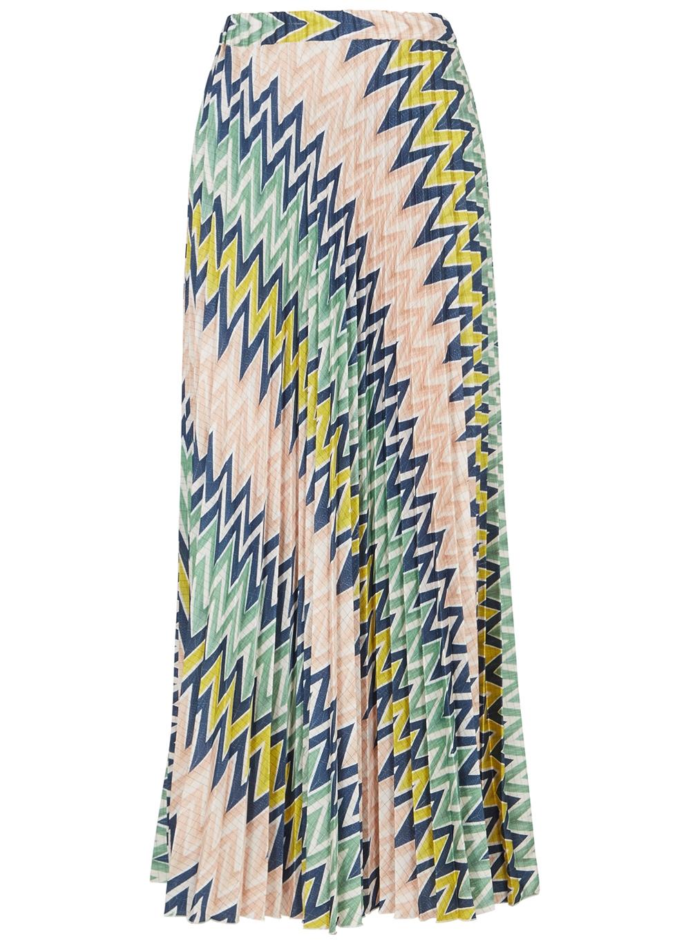 Zigzag pleated satin maxi skirt - M Missoni