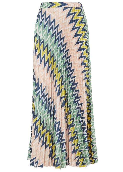 31de4a00456 M Missoni Zigzag pleated satin maxi skirt - Harvey Nichols