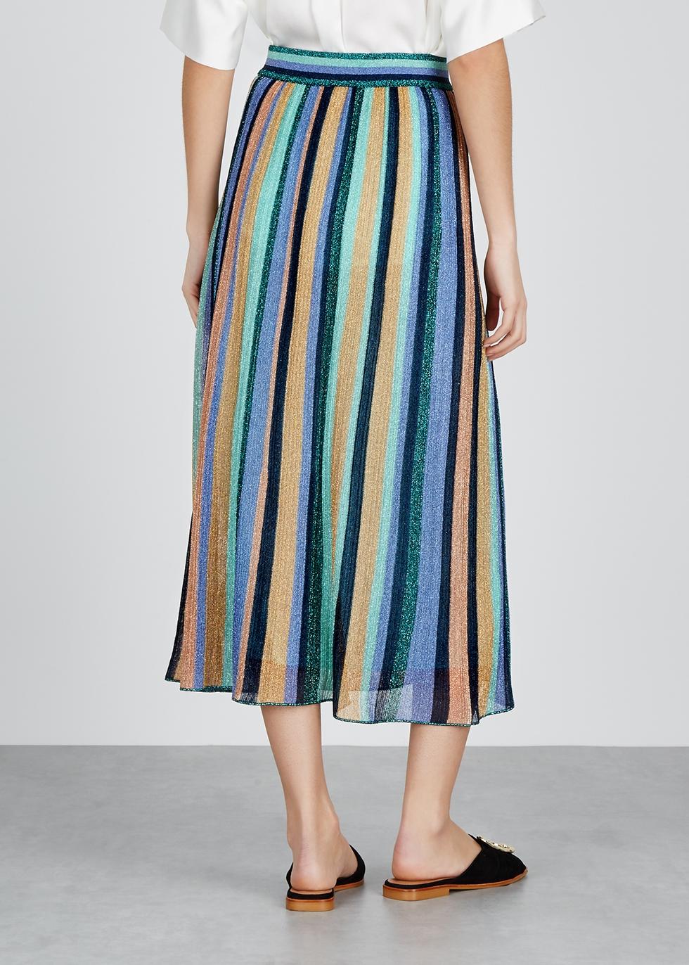 Striped metallic-knit midi skirt - M Missoni