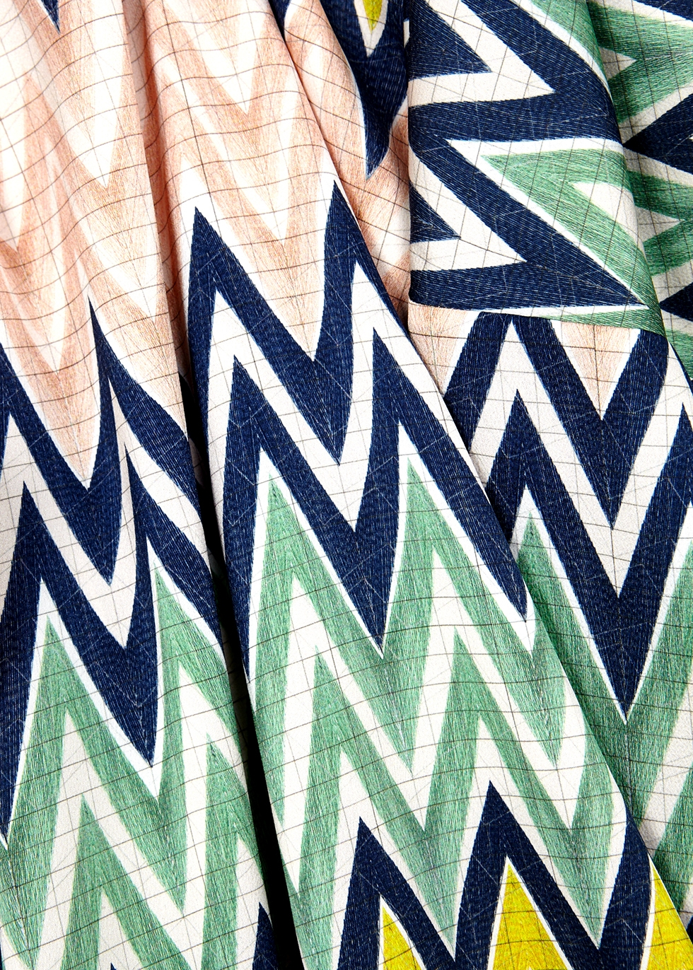 Zigzag-print matte satin top - M Missoni