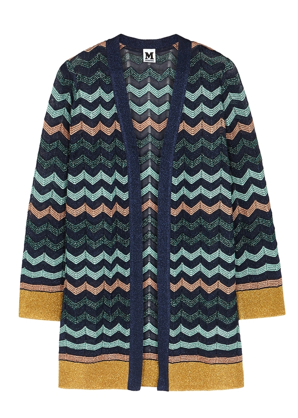 dd6846555f Zigzag metallic-knit cardigan ...