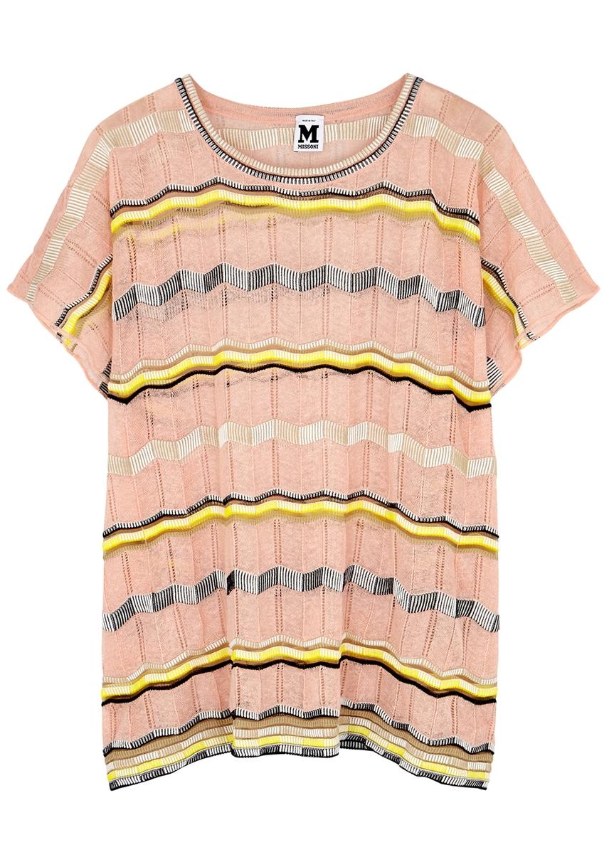 f039b4d35ae70 M Missoni. Light peach silk crepe de chine top. £285.00 · Zigzag fine-knit  cotton-blend tunic ...