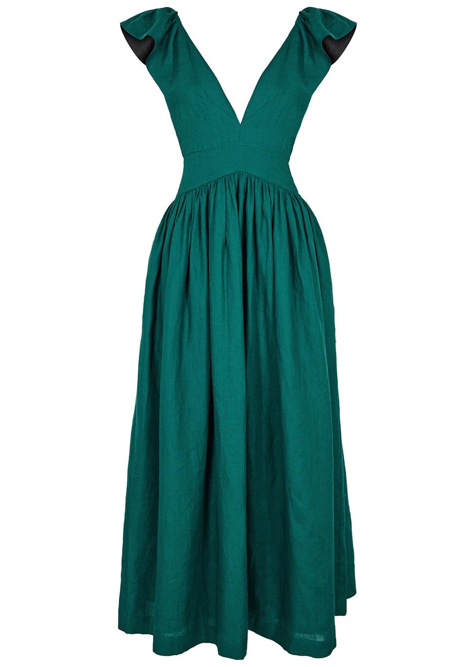 Maxi Nichols Teal Persephone Dress Harvey Kalita Linen 56Ytxqw6T