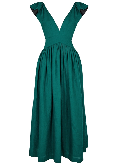 8d3219c045b KALITA Persephone teal linen maxi dress - Harvey Nichols