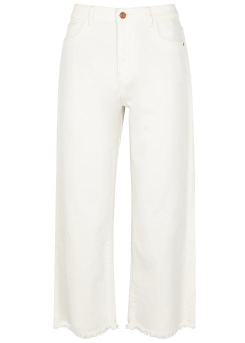 43c2deb52a02 DL1961 Hepburn off-white wide-leg jeans - Harvey Nichols