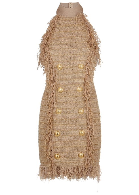 63ee5d91e95e2f Balmain Sand fringed tweed mini dress - Harvey Nichols
