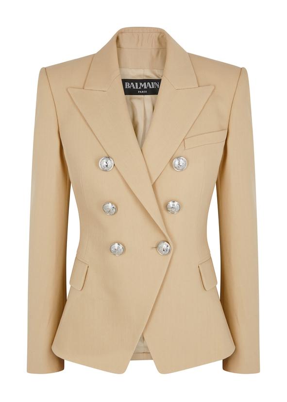 da11e5f5c3 Sand double-breasted wool blazer ...