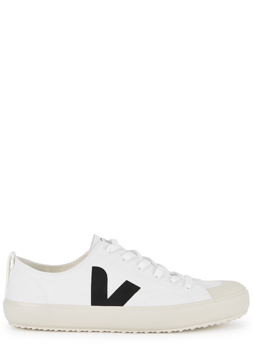 ec8b5a8ab1b3c Nova white canvas trainers ...