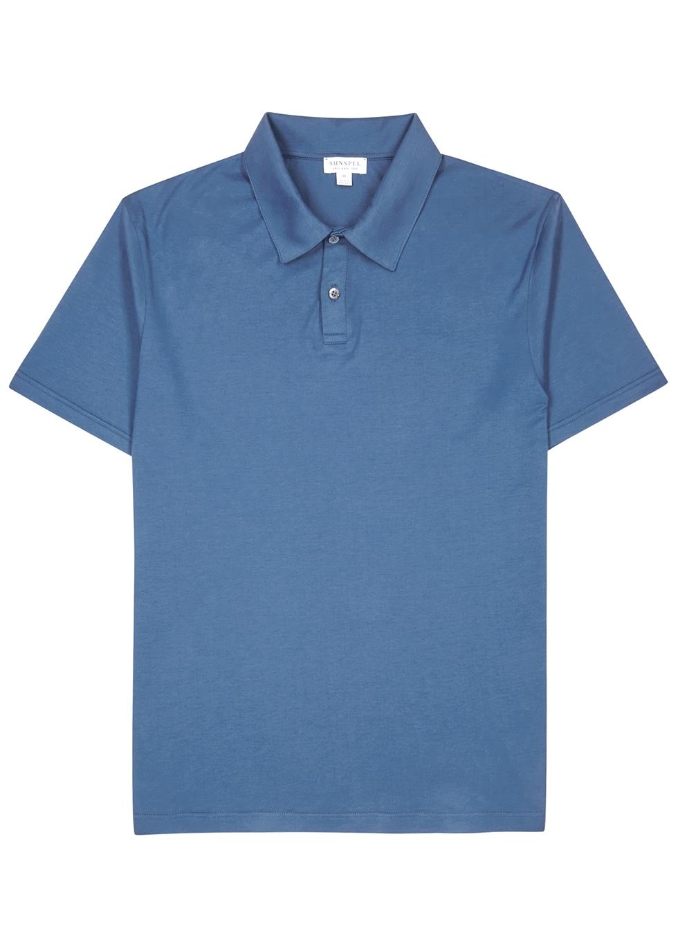 Blue cotton polo shirt - Sunspel