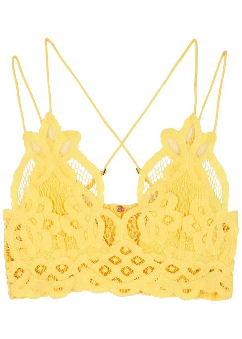 c58fa799aa Free People Adella pale yellow lace bra top - Harvey Nichols