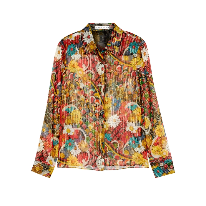 e0114bea4d4b Alice And Olivia Willa Floral-Print Silk-Chiffon Shirt In Multicoloured