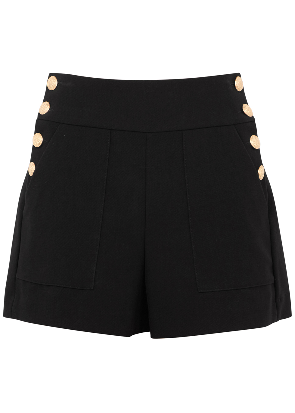 Alice + Olivia Donald High-Rise Sailor Shorts in Black
